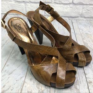 Carlos Santana Strappy Brown Leather Mesa Heels